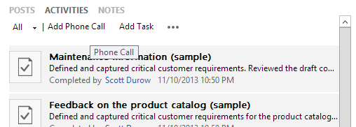 Restore Add Activity buttons in CRM 2013